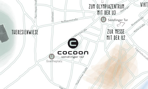 Munich map with the location of the Cocoon Hotel Sendlinger Tor Munich