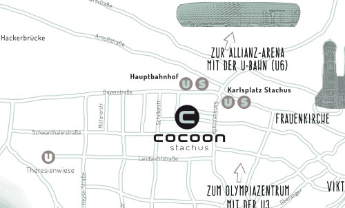 Location on the map of Cocoon Hotel Stachus in Munich